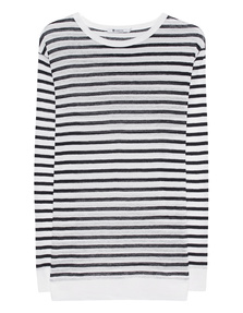 T BY ALEXANDER WANG Classic Crop Stripe Black White