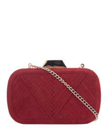 Lili Radu Shell Clutch Metallic V Suede Red