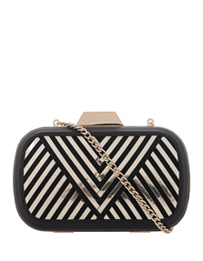 Lili Radu Shell Clutch Metallic V Black