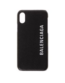 BALENCIAGA iPhone X Logo Leather Black