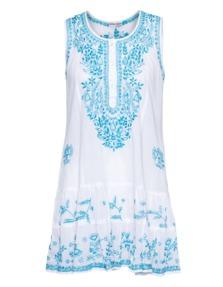 Juliet Dunn Sleeveless Little Sequin Turquoise White