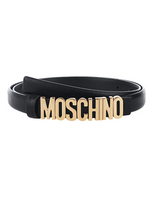MOSCHINO Logo Slim Grained Black Gold
