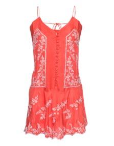 Juliet Dunn Strap Button Sequin Red Orange