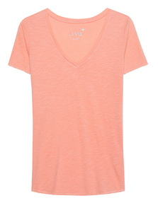 JUVIA V Neck Uni Rolled Up Hem Apricot