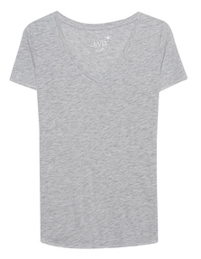 JUVIA V Neck Uni Mottled Light Grey