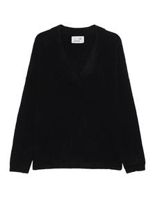 JUVIA Oversize V Neck Wool Black