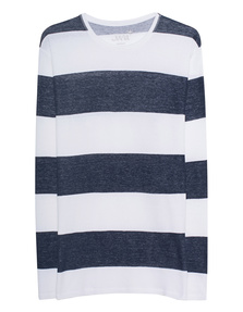 JUVIA Striped Crew Neck Navy
