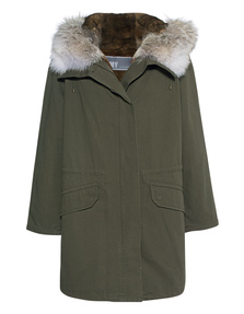 YVES SALOMON Parka 90 Hunter Green Naturelle