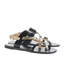 Ancient Greek Sandals Alethea Black Cracked Gold