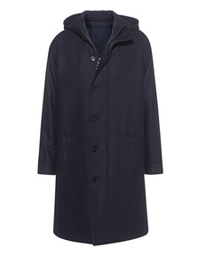 NEIL BARRETT Long Outdoor Wool Navy