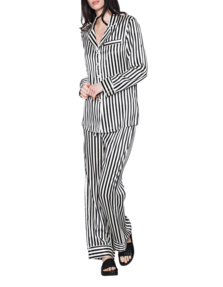OLIVIA VON HALLE Set Stripes Black White