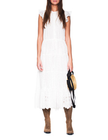 JADICTED Long Embroidery Dress White