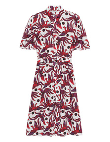 KENZO Shirting Belted Dress White Red