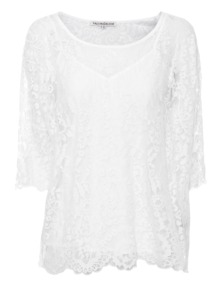 FALCON & BLOOM Dropped Shoulder Floral Lace White