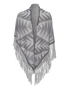 FRIENDLY HUNTING Triangle Fringles Print Palms Medium Grey