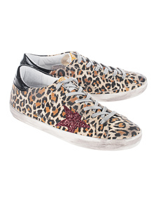 GOLDEN GOOSE DELUXE BRAND Superstar Leopard Suede/Red Glitter Star