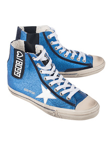 GOLDEN GOOSE DELUXE BRAND V-Star Blue Glitter White Star