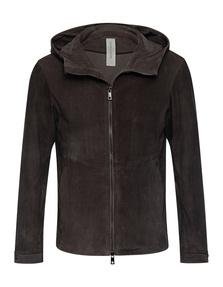 GIORGIO BRATO Leather Hoodie Zip Malachite Brown