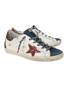 GOLDEN GOOSE DELUXE BRAND Superstar Denim Quarter Glitter White