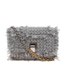 PROENZA SCHOULER Extra Small Courier Frayed Tweed Grey