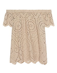 JADICTED Cotton Off Shoulder Beige