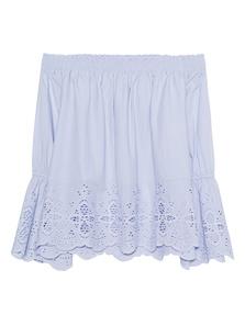 JADICTED Embroidery Off Shoulder Light Blue