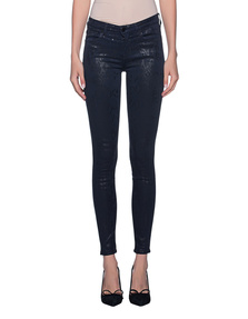 7 FOR ALL MANKIND The Skinny Coated Snakeskin Blue