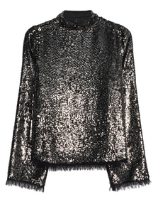 Kendall + Kylie Sequin Mock Neck Black