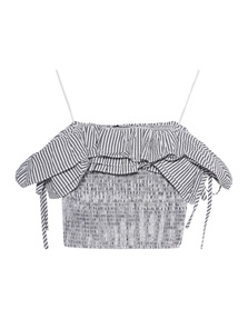 Kendall + Kylie Crop Striped Grey White