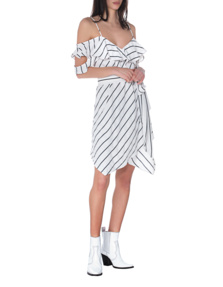 Kendall + Kylie Cut Out Stripes White