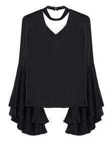 Kendall + Kylie Satin V Neck Black