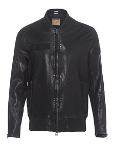 TRUE RELIGION Leather Bomber Black
