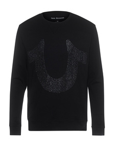 TRUE RELIGION Crew Neck Rhinestone Black