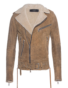 Michael Amiri Shearling Leather Brown