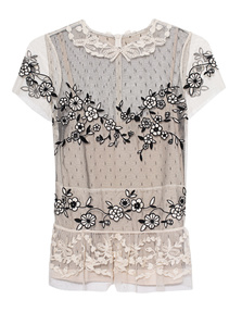 RED VALENTINO Floral Top Creme