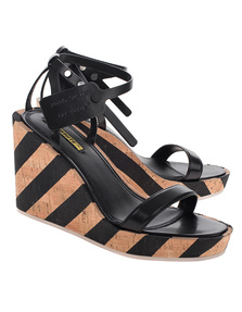 OFF-WHITE C/O VIRGIL ABLOH Wedge Striped Sandal Black