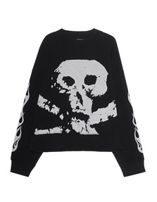 Palm Angels Sweater Skull and Flames Black