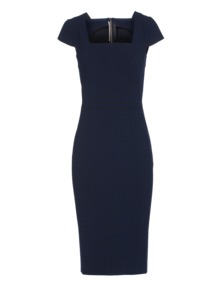 Roland Mouret Grid Pattern Stretch Dark Blue