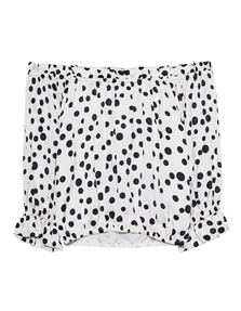 RIXO LONDON Kerry Off-Shoulder Spots White Black