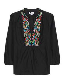 VELVET BY GRAHAM & SPENCER Tunic Flower Embroidery Black
