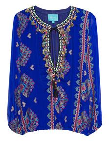 TAJ Silk Embroidery Blue