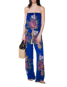 TAJ Off Shoulder Embroidery Blue
