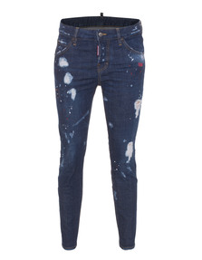 DSQUARED2 Cool Girl Long Crotch Tight Bottom Bleach Stitch Blue