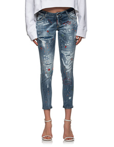 DSQUARED2 Jennifer Cropped Rhinestones Blue