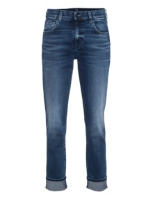 7 FOR ALL MANKIND Relaxed Skinny Aged Denim Mid Blue