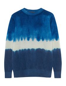The Elder Statesman Simple Crew Dyed Blue