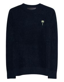 The Elder Statesman Embroidered Simple Crew Navy