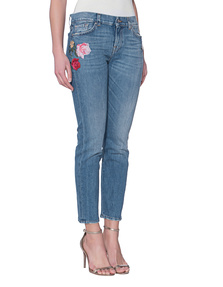 7 FOR ALL MANKIND Roxanne Crop Embroidered Flowers