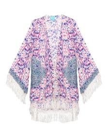 TAJ by Sabrina Crippa  Ornate Beads Kimono Pink Blue