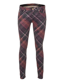 7 FOR ALL MANKIND The Skinny Checkered Print Red